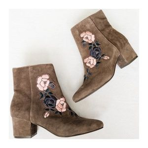 STEVEN Brooker Suede Embroidered Booties